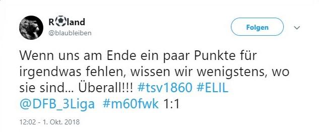 Tweet zu 1860 gegen Würzburg
