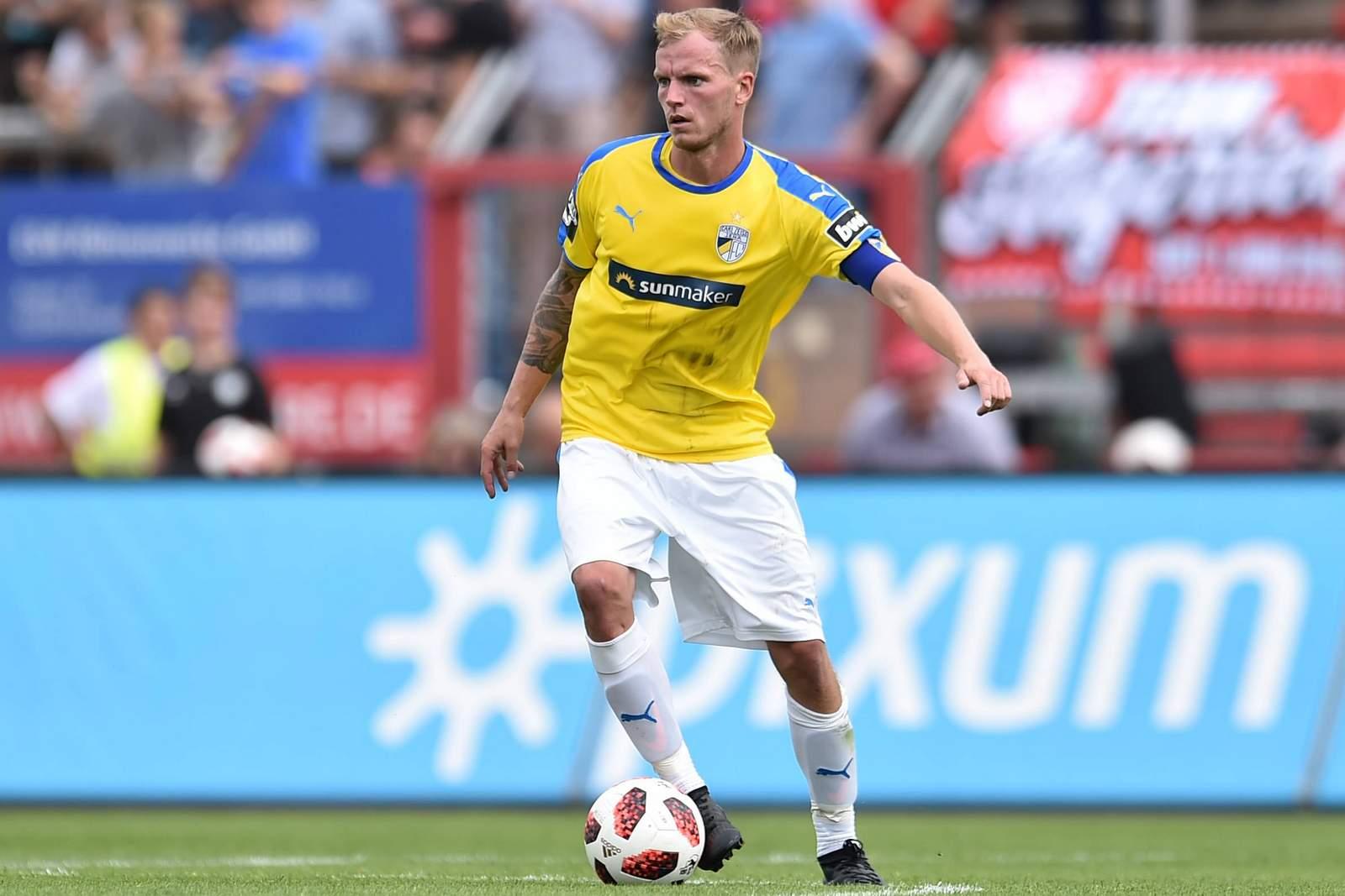 Rene Eckardt vom FC Carl Zeiss Jena beim Spiel gegen Fortuna Köln