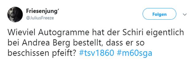 Tweet zu 1860 München gegen Großaspach
