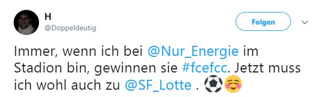 Tweet zu Cottbus gegen Jena