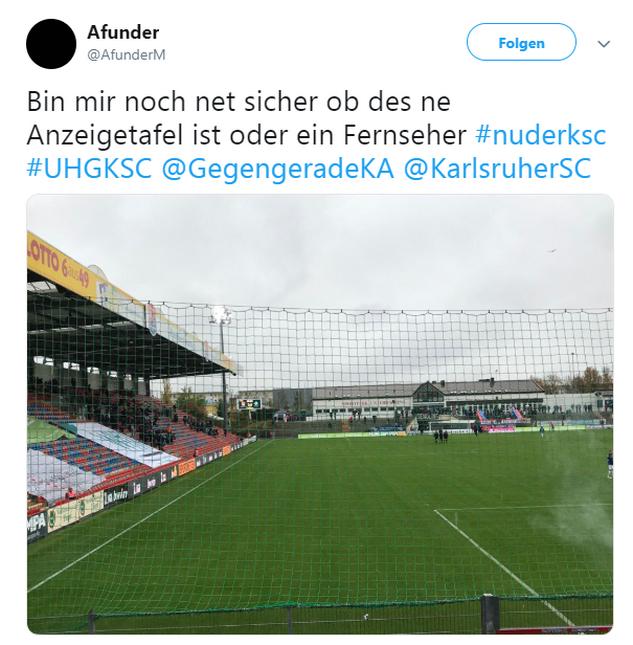 Tweet zu Unterhaching gegen Karlsruhe