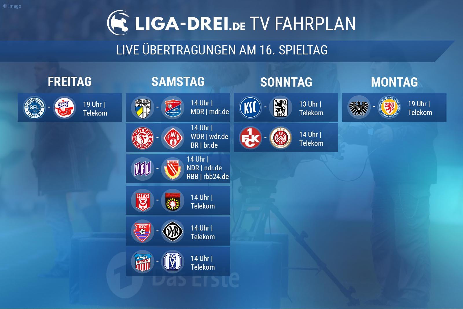TV-Plan für die Dritte Liga am 16. Spieltag