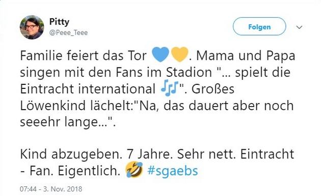 Tweet zu Großaspach gegen Braunschweig