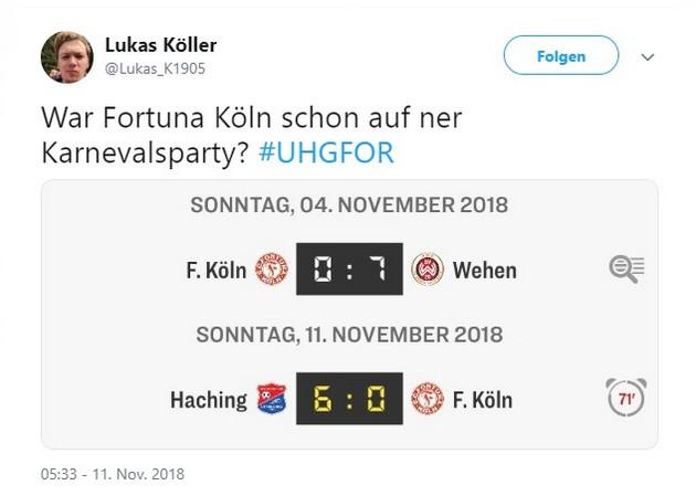 Tweet zu Unterhaching gegen Fortuna Köln