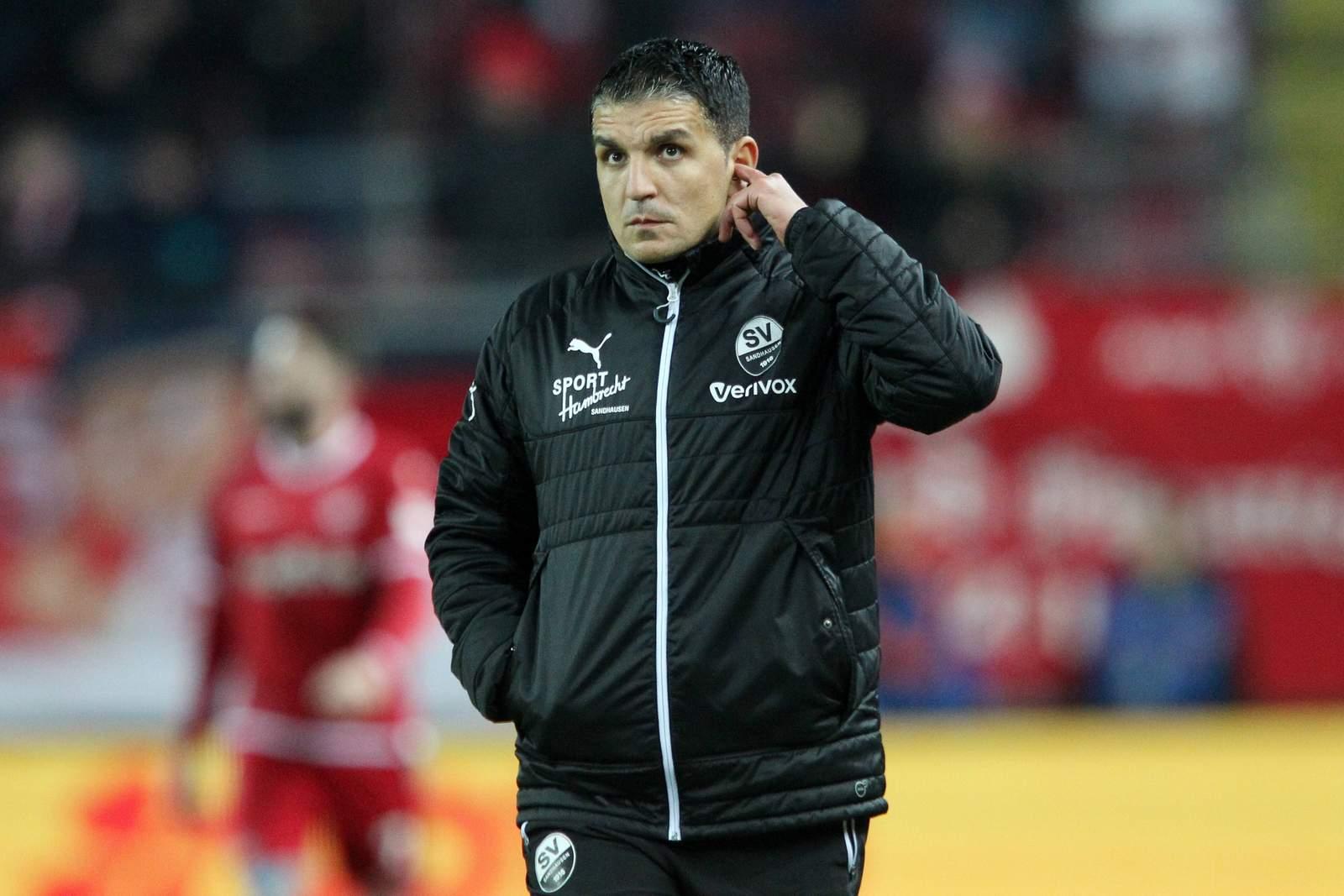Kenan Kocak vom SV Sandhausen bei Spiel in Kaiserslautern