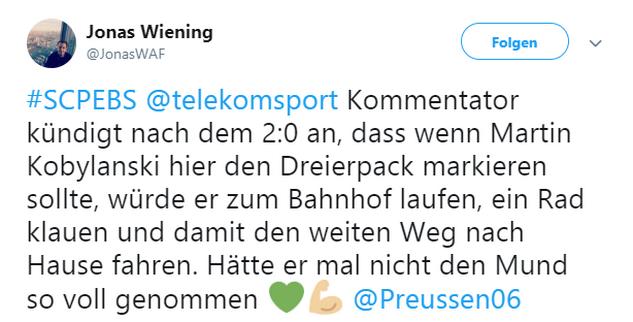 Tweet zu Münster gegen Braunschweig