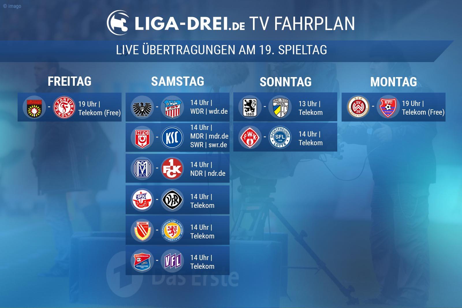 TV-Fahrplan am 19. Spieltag