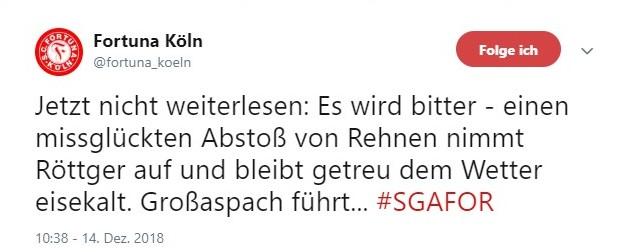Tweet zu Großaspach gegen Fortuna