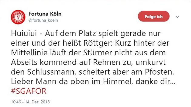 Tweet Großaspach gegen Fortuna Köln