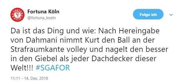 Tweet zu Großaspach gegen Fortuna Köln