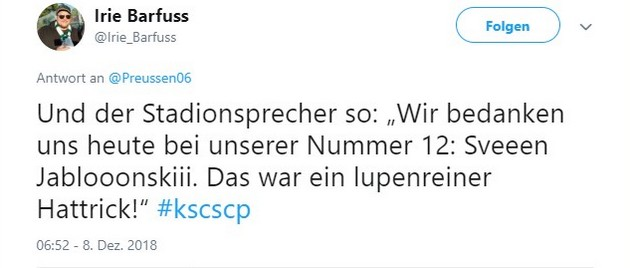 Tweet zu Karlsruhe gegen Münster