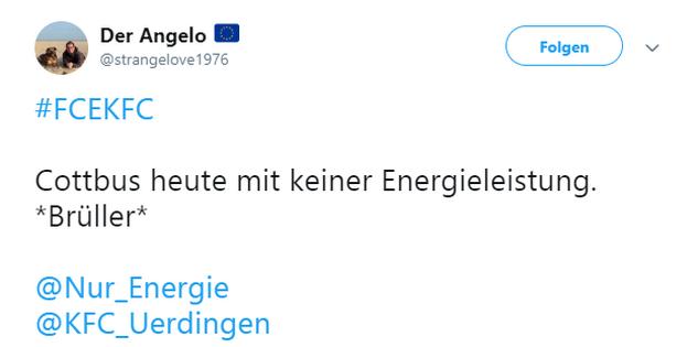 Tweet zu Cottbus gegen Uerdingen