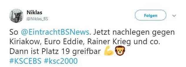 Tweet zu KSC gegen Braunschweig