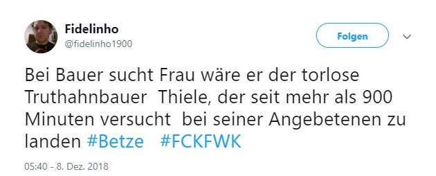 Tweet zu Kaiserslautern gegen Würzburg