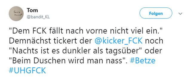 Tweet zu Unterhaching gegen Kaiserslautern