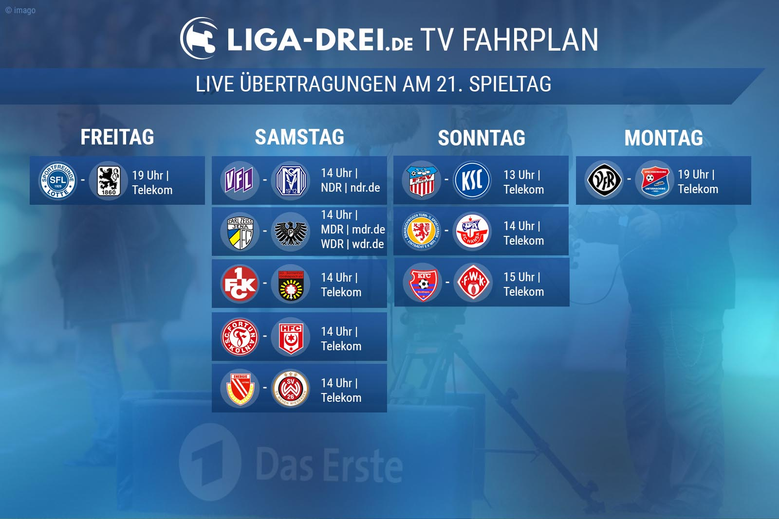 TV-Fahrplan der 3. Liga