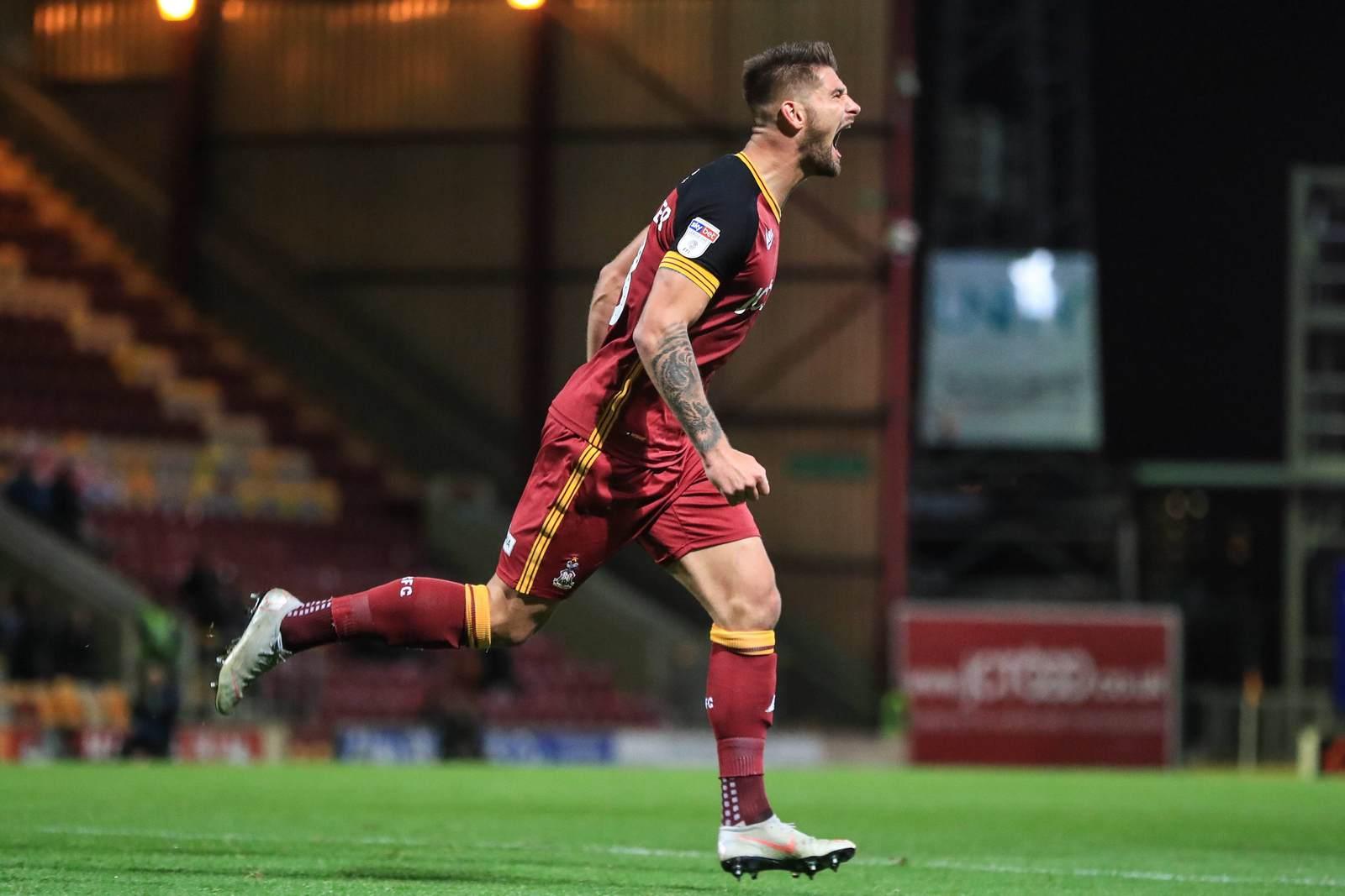 Kai Brünker jubelt für Bradford City