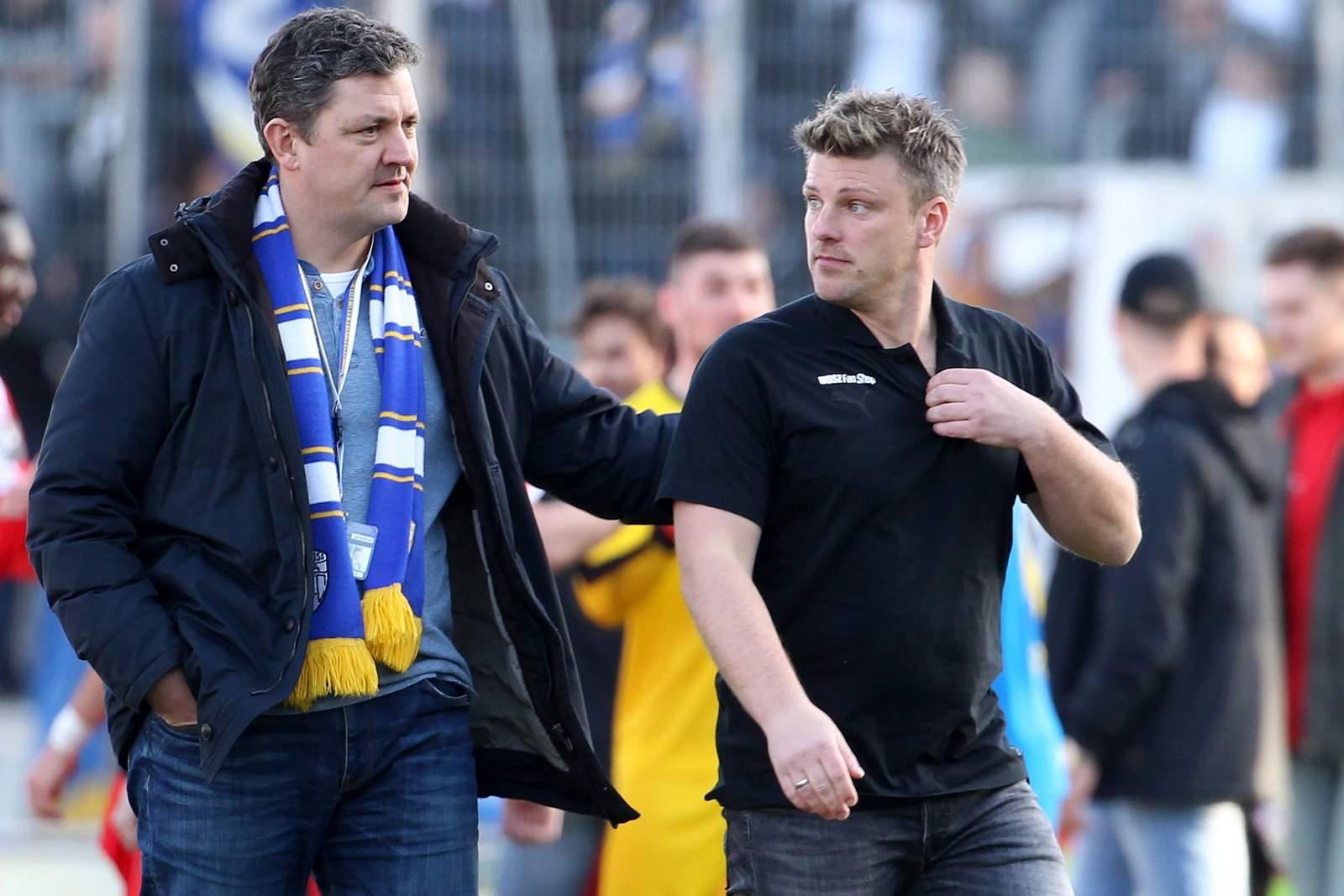 Chris Förster und Lukas Kwasniok vom FC Carl Zeiss Jena