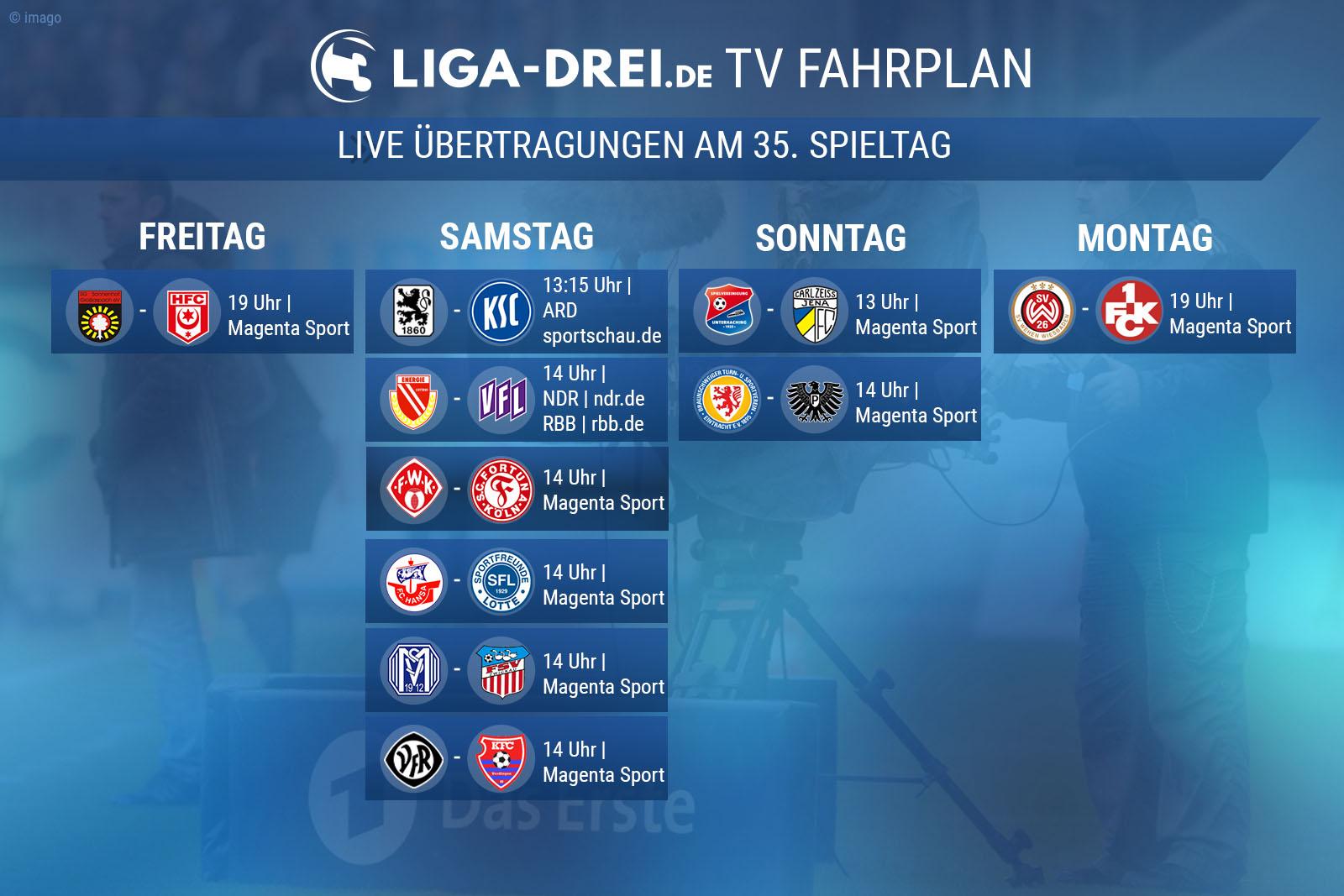Der TV-Fahrplan für den 35. Spieltag.
