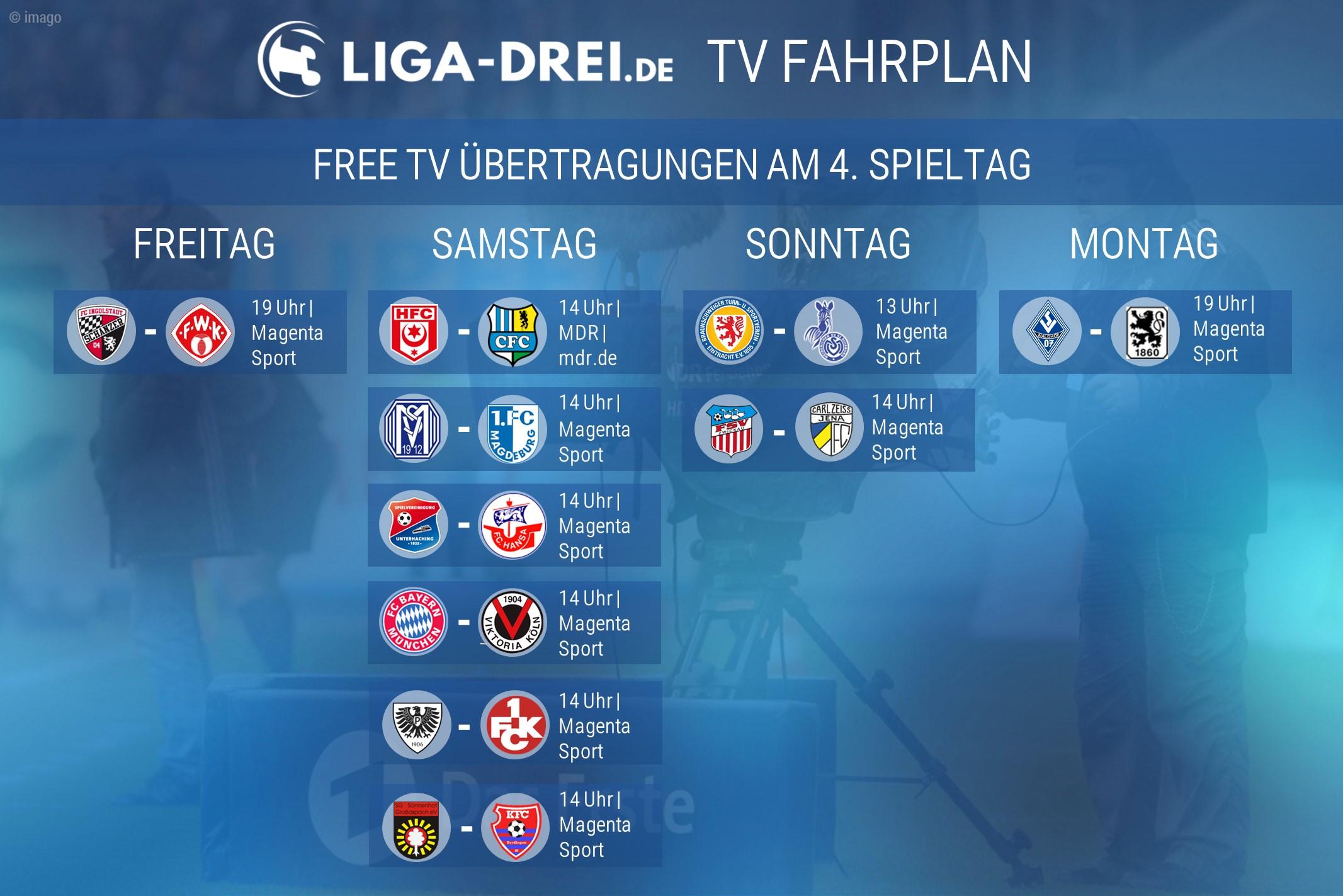 tv fahrplan, 3.liga, 4. spieltag
