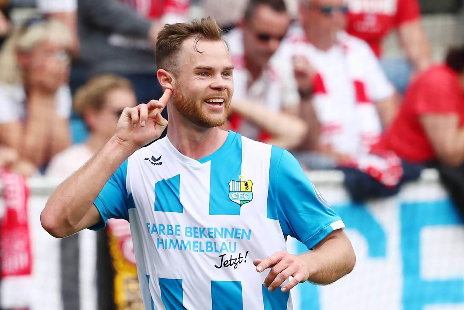 Tobias Müller jubelt für den Chemnitzer FC