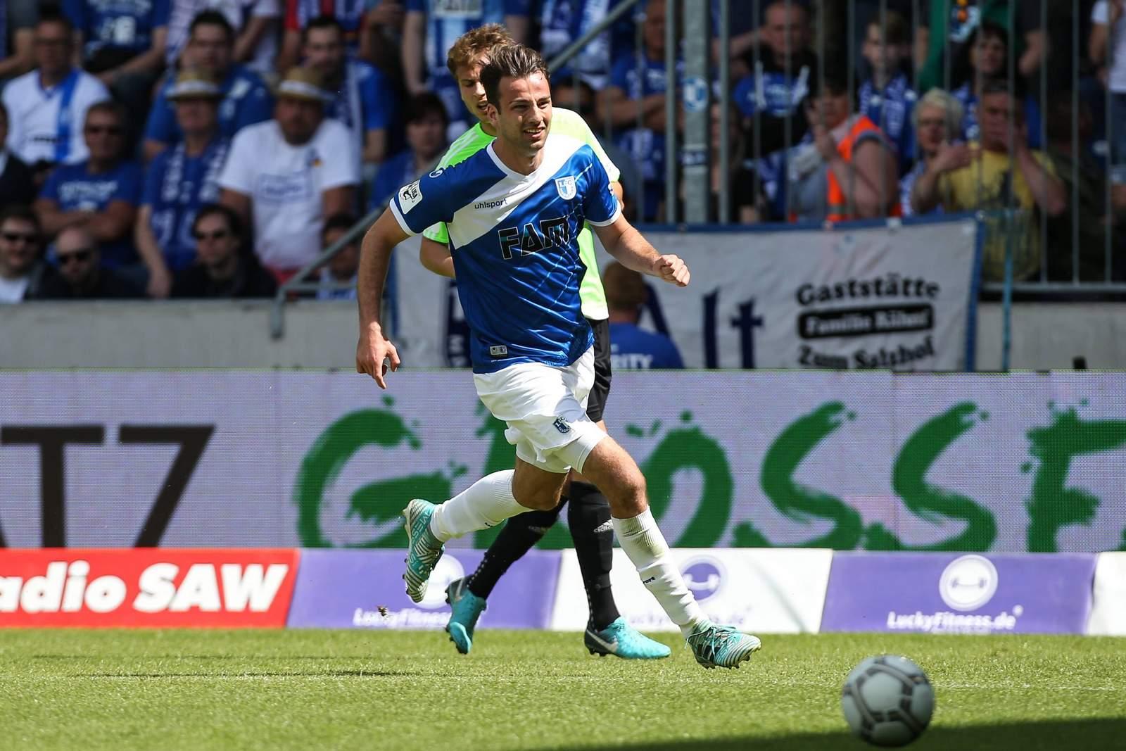 Christian Beck vom 1. FC Magdeburg gegen den Chemnitzer FC.