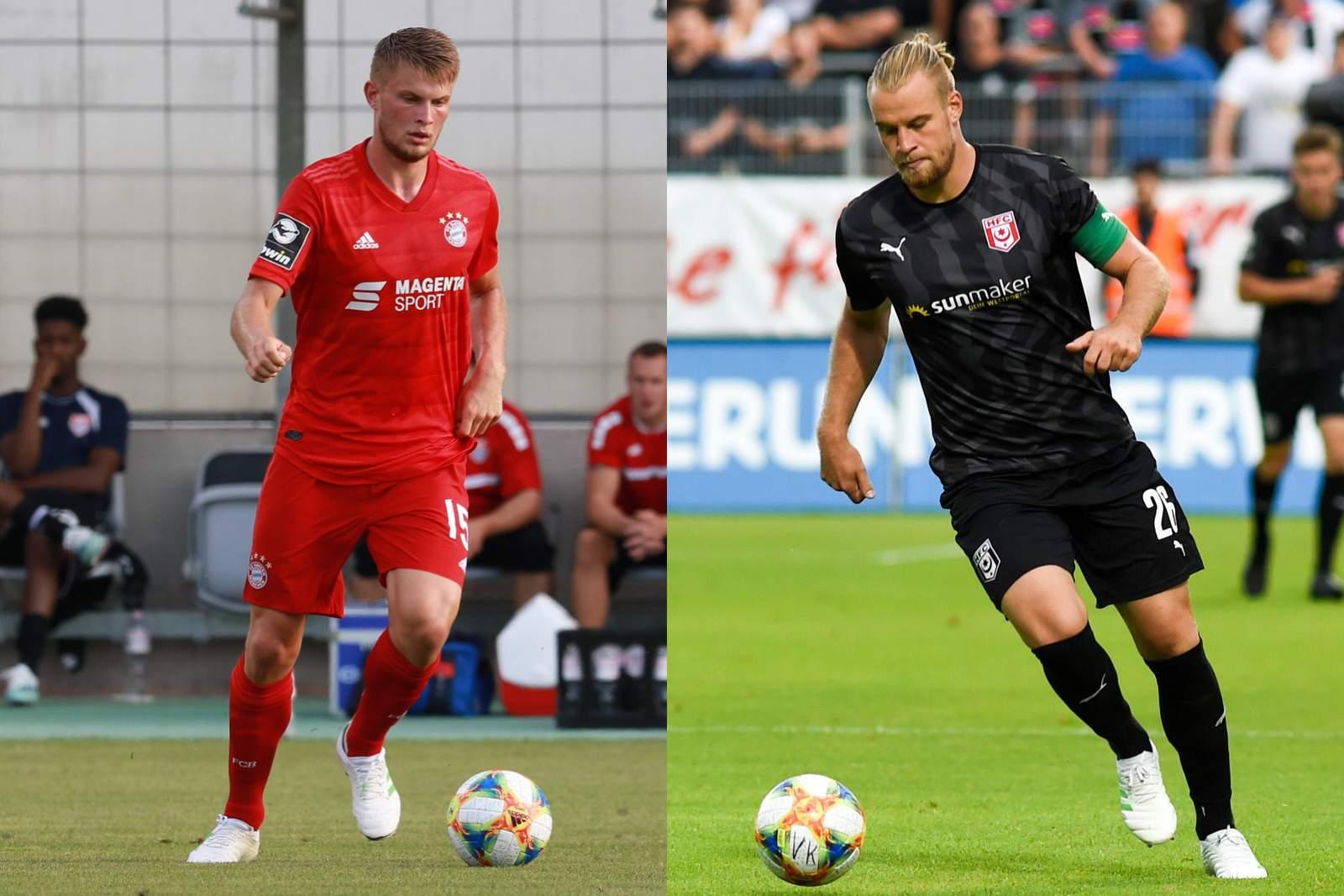 Lars Lukas Mai (l.) trifft mit der FC Bayern U23 auf seinen Bruder Sebastian und den HFC.