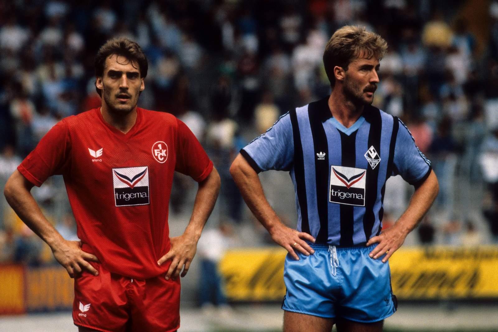 Frank Hartmann vom FCK (l.) und Dieter Finke von Waldhof Mannheim.
