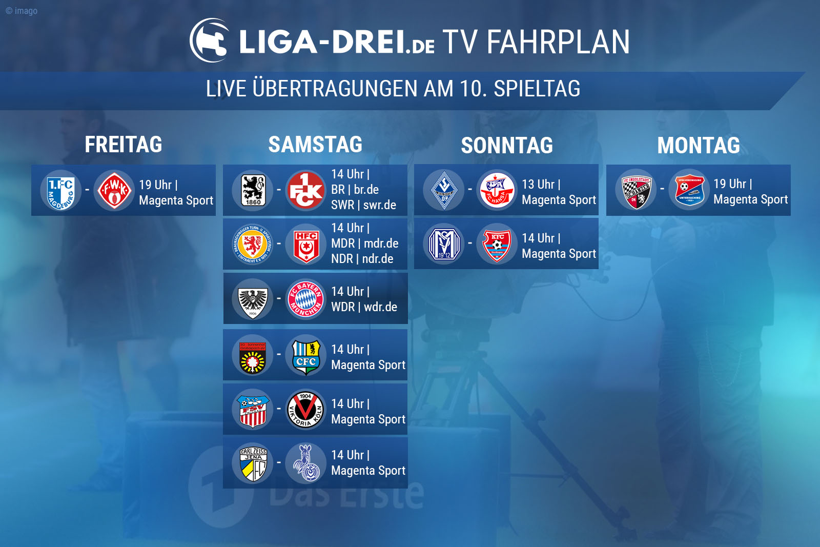 TV-Plan am 10. Spieltag der 3. liga