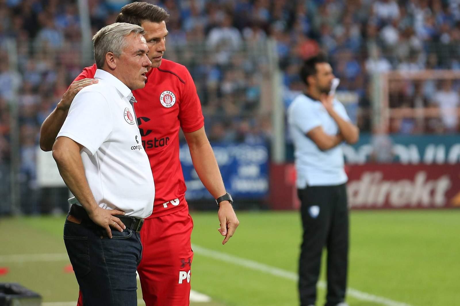 Olaf Janßen und Patrick Glöckner bei Spiel von St.Pauli