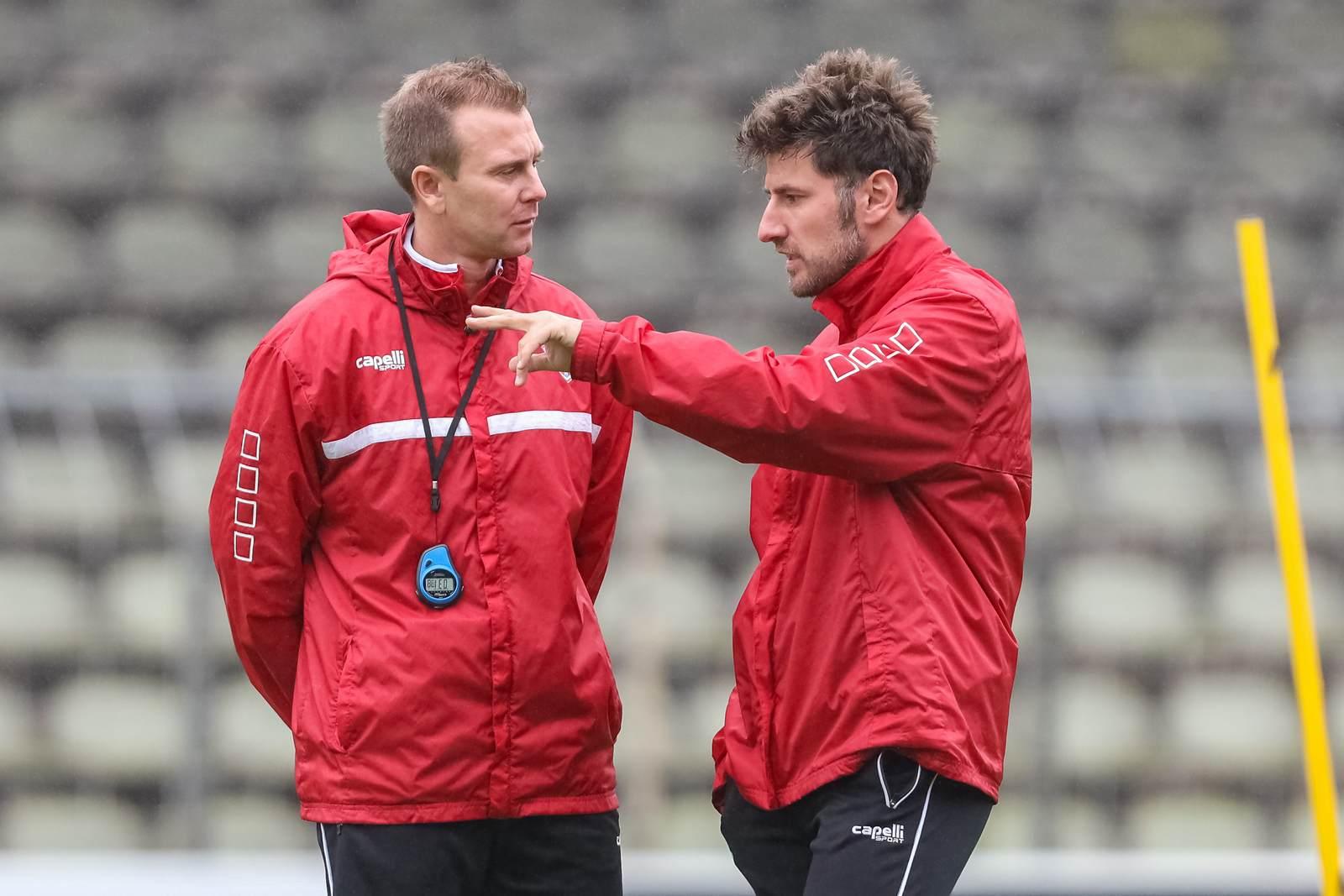 Daniel Steuernagel und Stefan Reisinger vom KFC Uerdingen