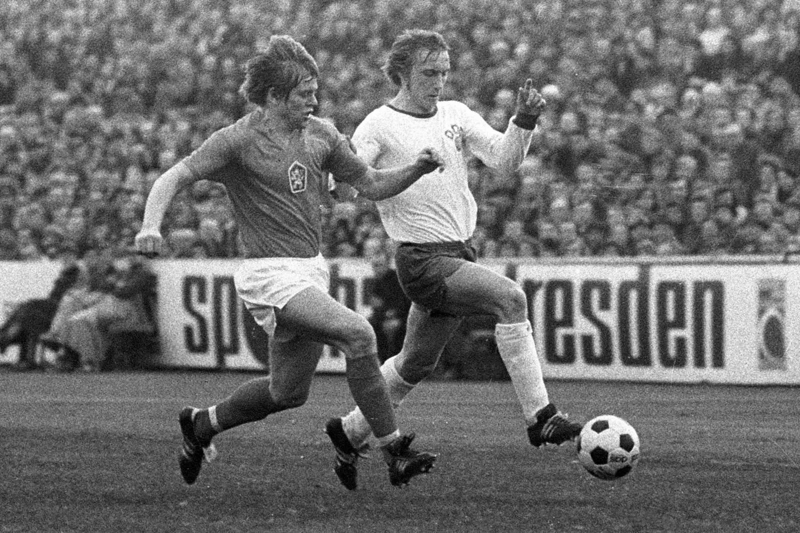 Joachim Streich (r.) in der Nationalmannschaft der DDR.