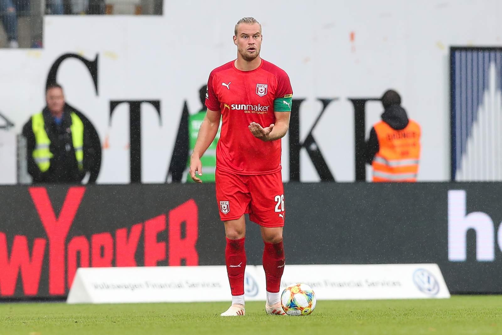 Sebastian Mai auf dem Platz für den Halleschen FC