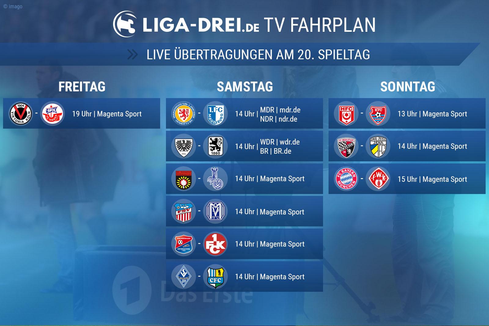 TV Plan 3. Liga 20. Spieltag