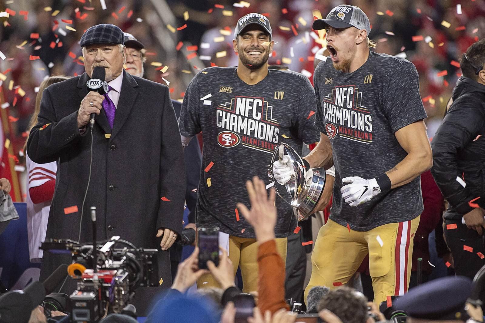Jimmy Garoppolo und George Kittle von den 49ers. Jetzt auf den Super Bowl wetten