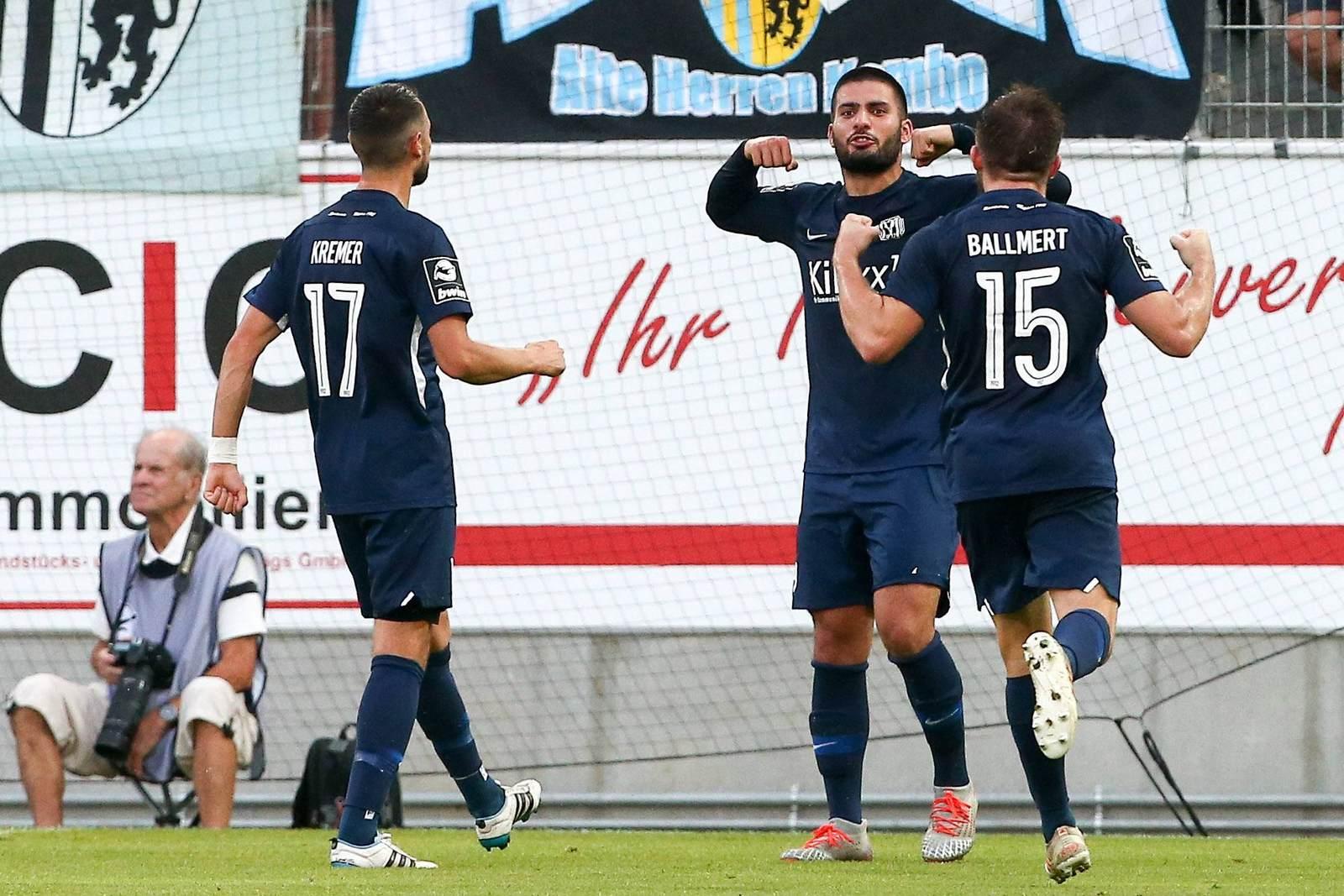 Max Kremer, Deniz Undav und Markus Ballmert vom SV Meppen
