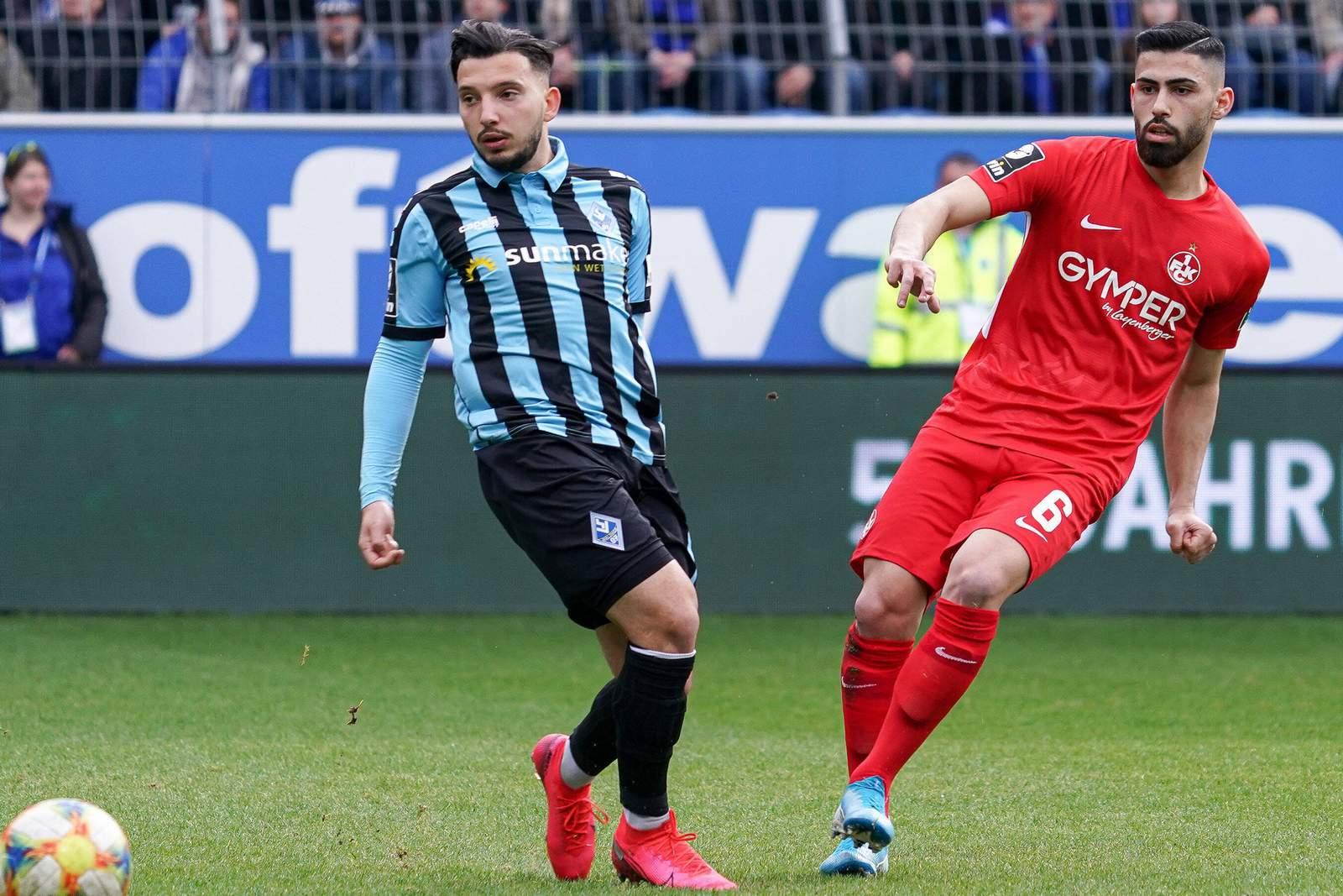Arianit Ferati von Waldhof Mannheim und Hikmet Ciftci vom FCK