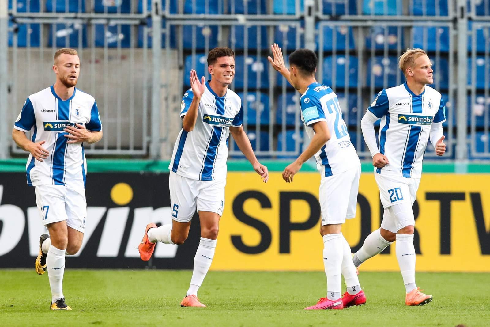 Tobias Müller bejubelt seinen Pokal-Treffer gegen Darmstadt.