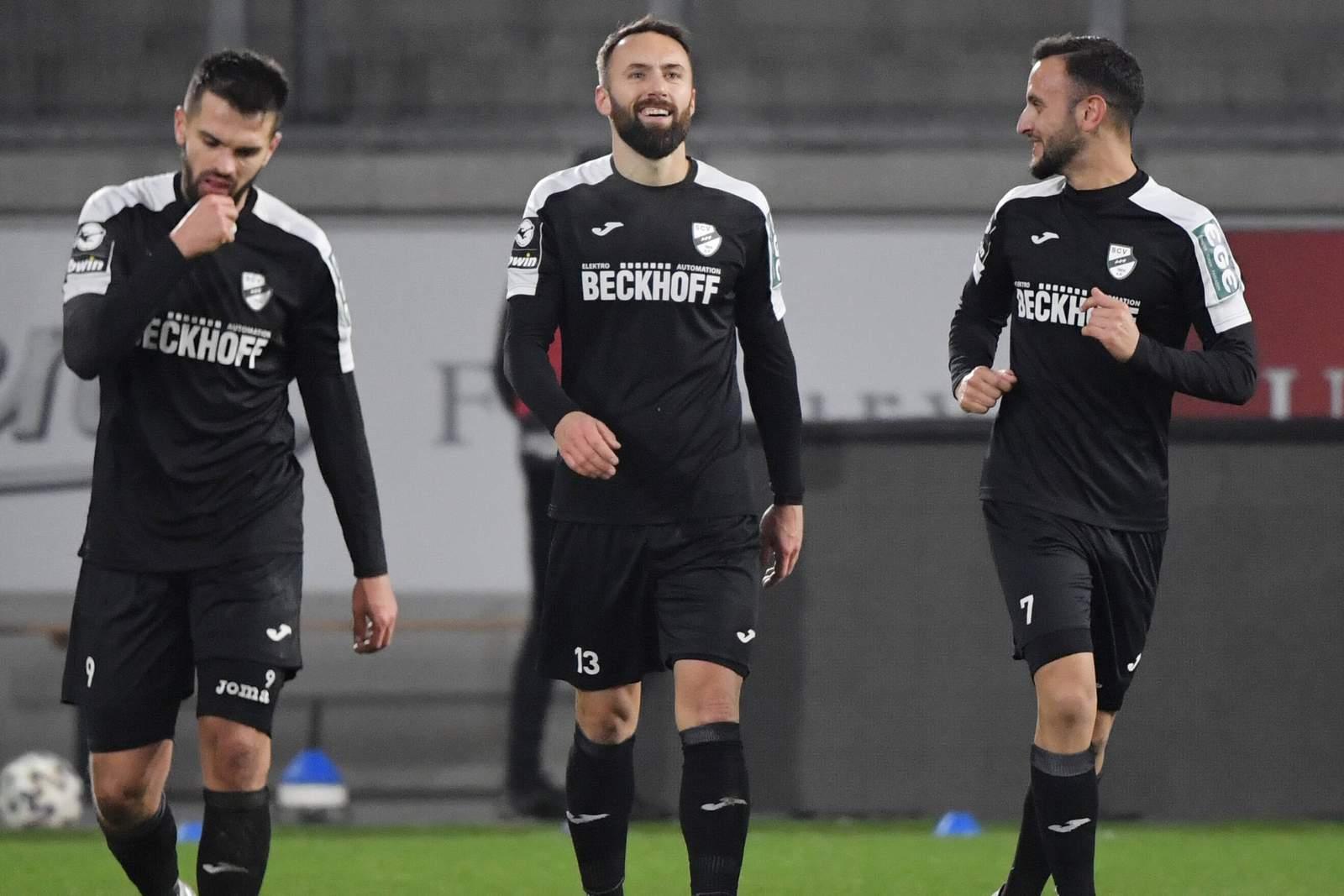 Kasim Rabihic, Zlatko Janjic und Mehmet Kurt vom SC Verl